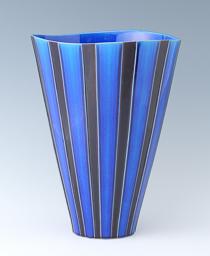 新藤晋「彩釉花器」 高さ40.5cm、径30.5cm