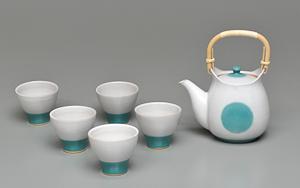坂本章「白釉掛分茶器」(急須)高さ20.5cm、12×17cm